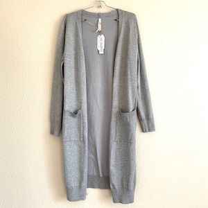 Stoosh Cozy Gray Knit Open Front Pocket Cardigan